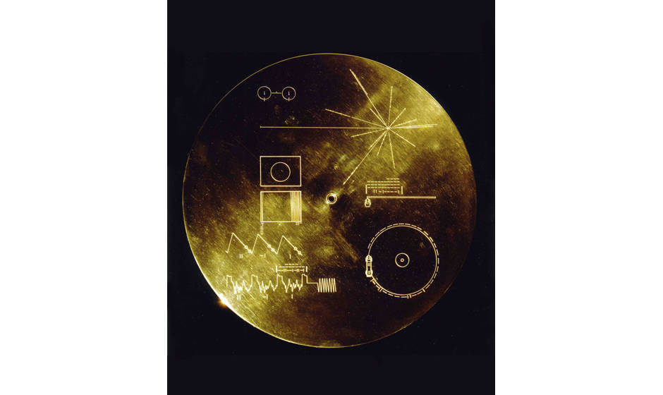 UNITED STATES - JANUARY 24:  This gold aluminum cover was designed to protect the Voyager 1 and 2 ?Sounds of Earth? gold-plat