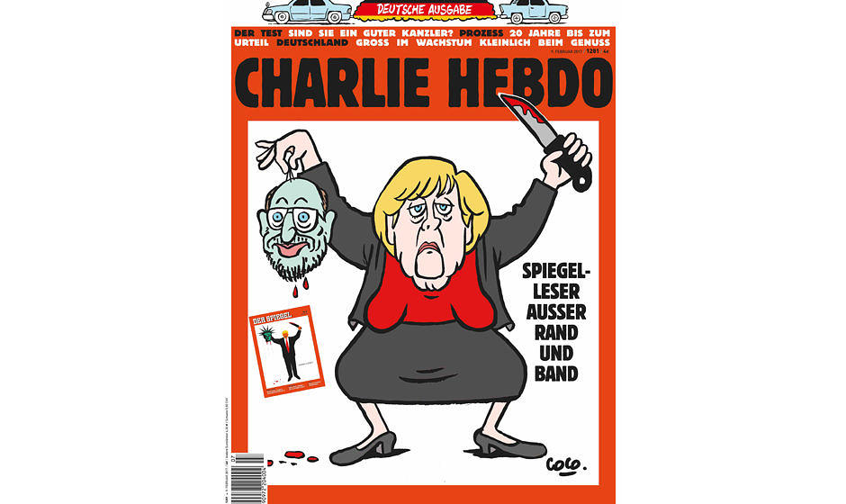 Charlie hebdo cover angela merkel enthauptet martin schulz for Spiegel titelblatt