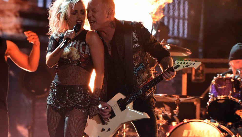 Lady Gaga performs with Metallica onstage during the 59th Annual Grammy music Awards on February 12, 2017, in Los Angeles, Ca