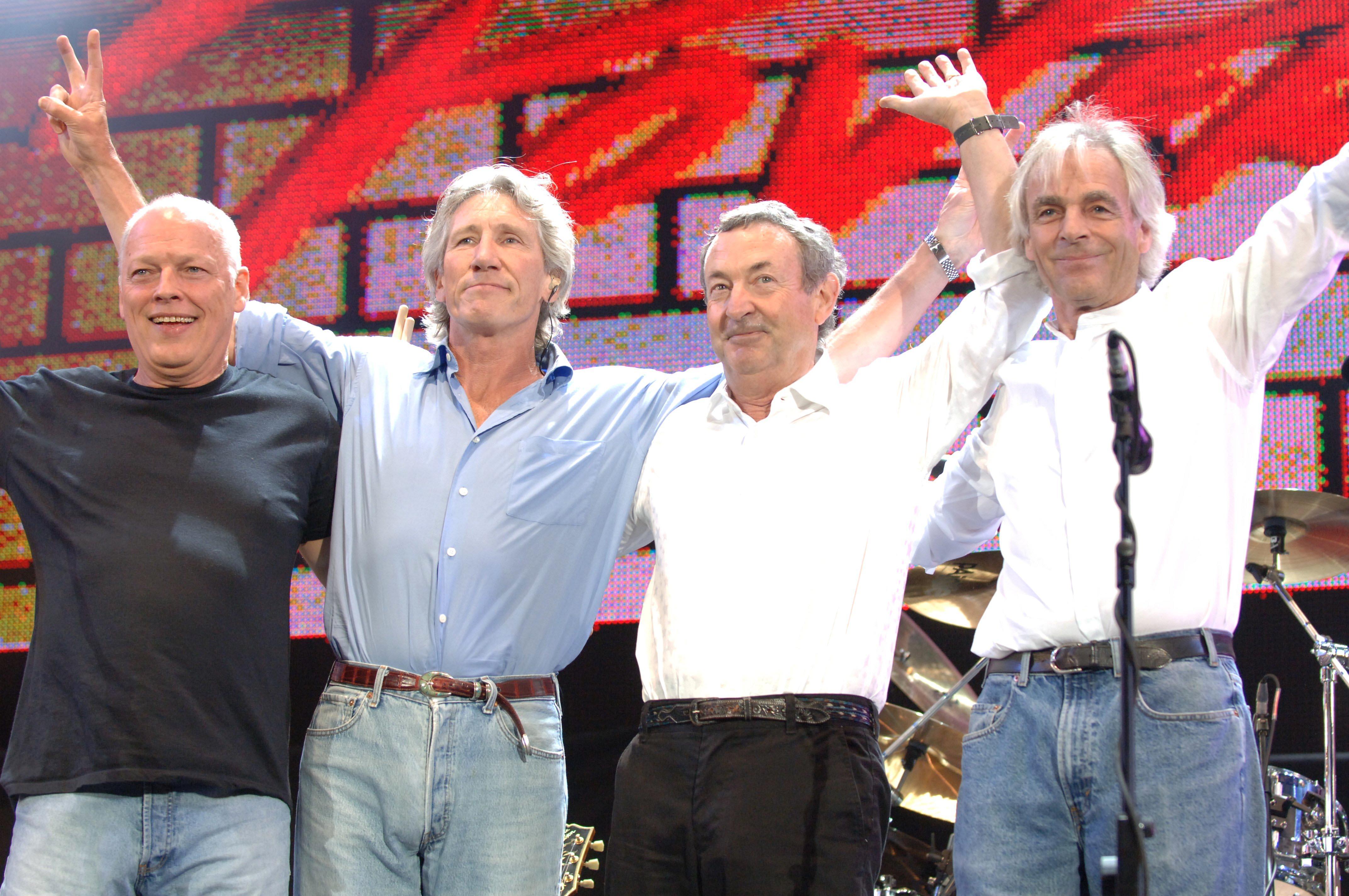 Pink Floyd (David Gilmour, Roger Waters, Nick Mason und Rick Wright) bei ihrem Live8-Auftritt 2005
