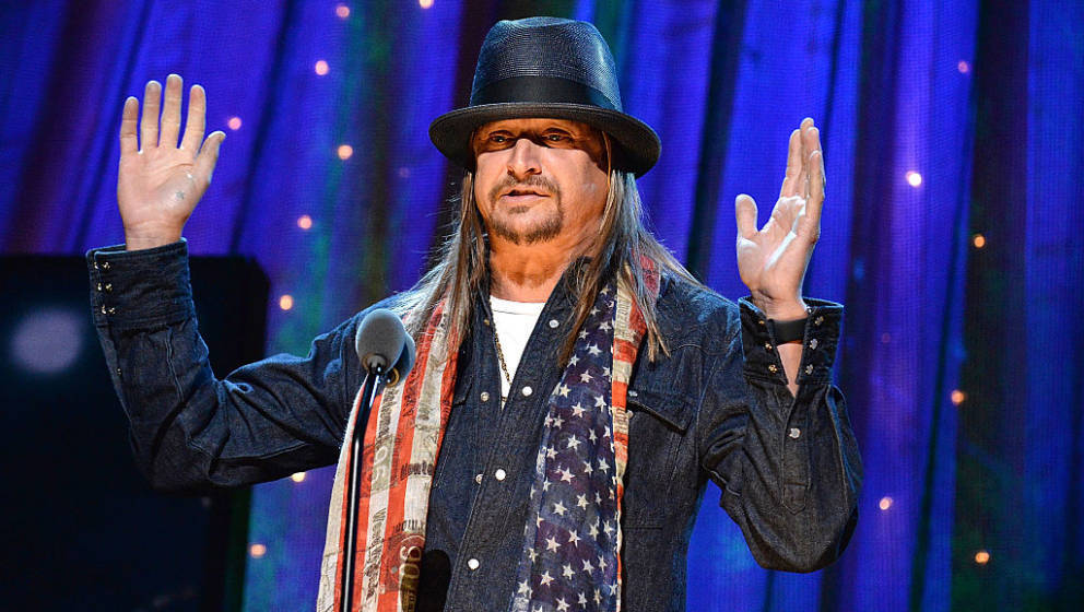 NEW YORK, NEW YORK - APRIL 08:  Kid Rock speaks onstage during 31st Annual Rock And Roll Hall Of Fame Induction Ceremony at B