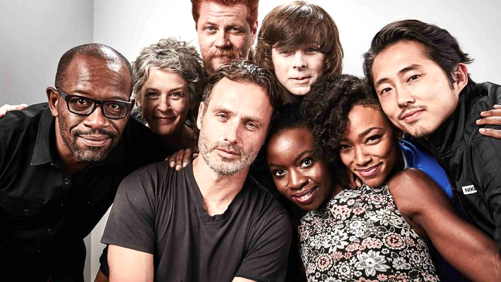 SAN DIEGO, CA - JULY 11:  (L-R) Actors Lennie James, Melissa McBride, Andrew Lincoln, Michael Cudlitz, Chandler Riggs, Danai
