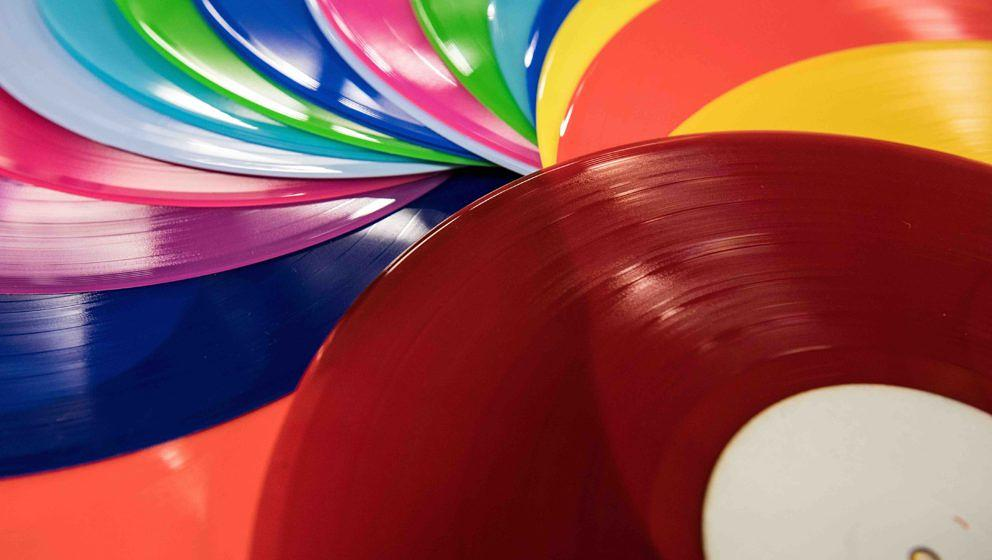 HAYES, ENGLAND - JANUARY 11:  Coloured vinyl records are fanned out at The Vinyl Factory on January 11, 2017 in Hayes, Englan