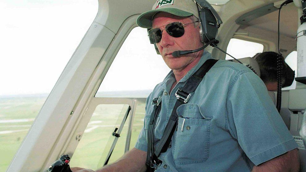 391827 01: (U.S. Tabs Out) Actor Harrison Ford Flies His Helicopter July 10, 2001 Near Jackson, Wy. Ford Located And Rescued