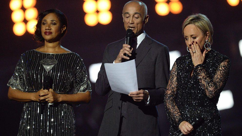 Helen 'Pepsi' DeMacque, Andrew Ridgeley und Shirlie Holliman bei den Brit Awards 2017