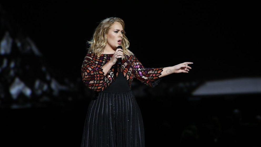 LOS ANGELES - FEBRUARY 12: Adele performs during THE 59TH ANNUAL GRAMMY AWARDS, broadcast live from the STAPLES Center in Los