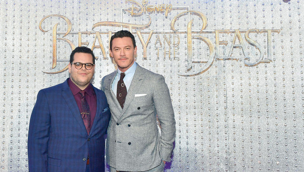 HOLLYWOOD, CA - MARCH 02:  Josh Gad and Luke Evans arrive at the world premiere of Disney's new live-action 'Beauty and the B