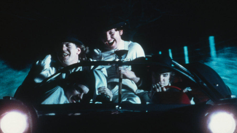 British actor Malcolm McDowell goes joyriding with his droogs in a scene from 'A Clockwork Orange', 1971. (Photo by Warner Br