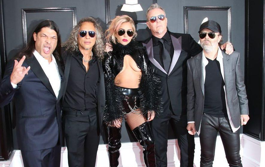 LOS ANGELES, CA - FEBRUARY 12: Singer Lady Gaga (C) with (L-R) musicians Robert Trujillo, Kirk Hammett, James Hetfield and La