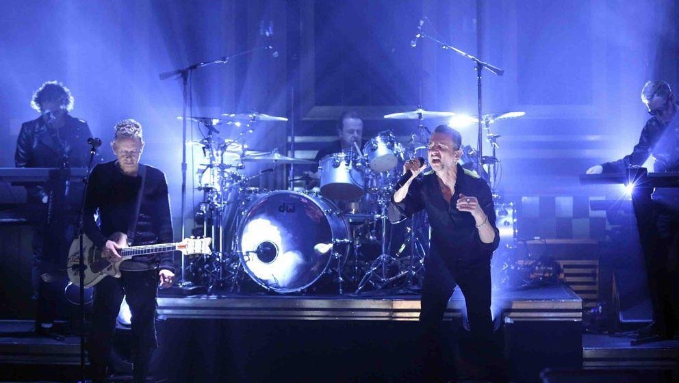 THE TONIGHT SHOW STARRING JIMMY FALLON -- Episode 0634 -- Pictured: (l-r) Musical guests Martin Gore, Dave Gahan, Andy Fletch