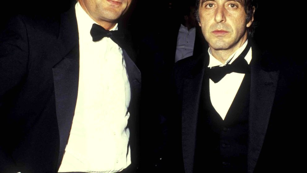 Robert DeNiro and actor Al Pacino attend American Museum of the Moving Image Awards Honoring Elia Kazan on January 19, 1987 a