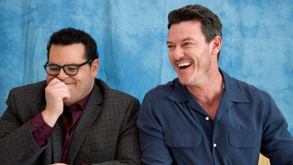 BEVERLY HILLS, CA - MARCH 05:  Josh Gad and Luke Evans at the 'Beauty and the Beast' Press Conference at the Montage Hotel on