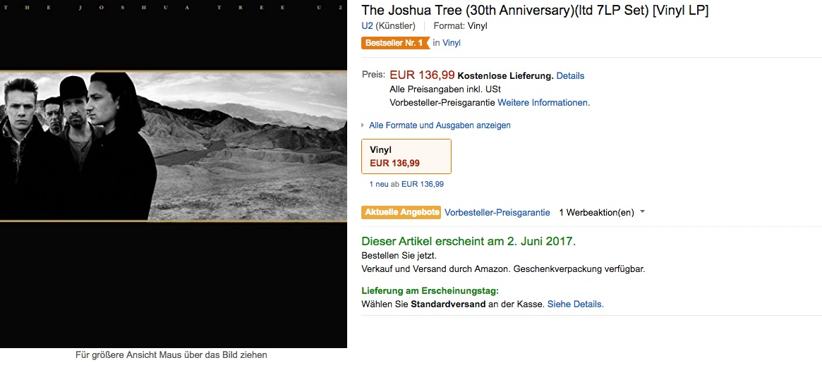 """Kein Schnäppchen: """"The Joshua Tree"""" in der Deluxe-Variante"""