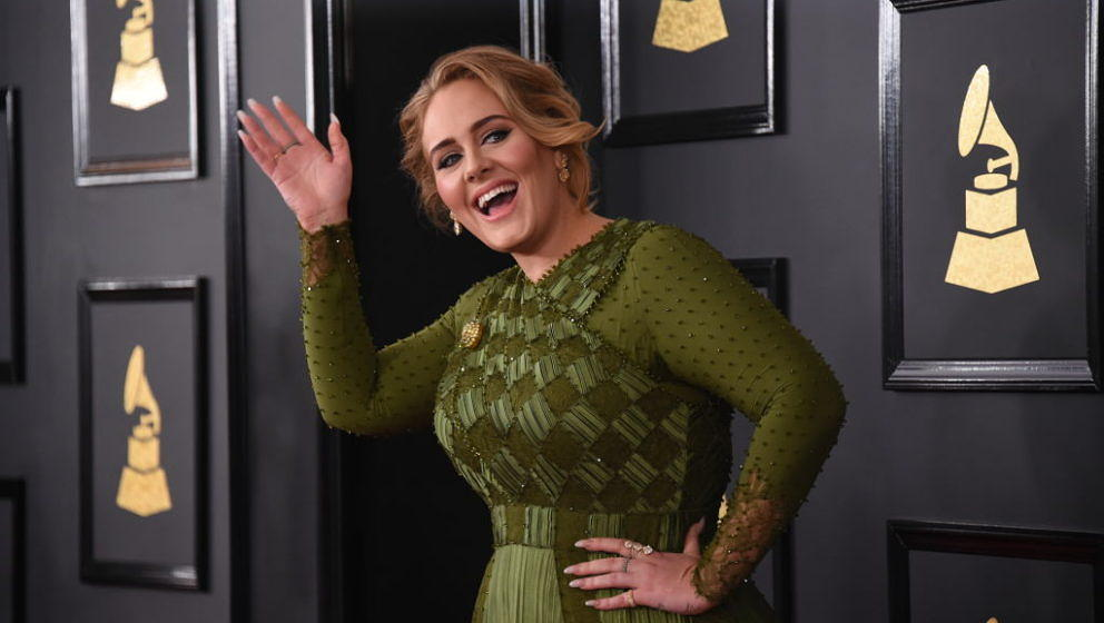LOS ANGELES - FEBRUARY 12: Adele on the Red Carpet at THE 59TH ANNUAL GRAMMY AWARDS, broadcast live from the STAPLES Center i