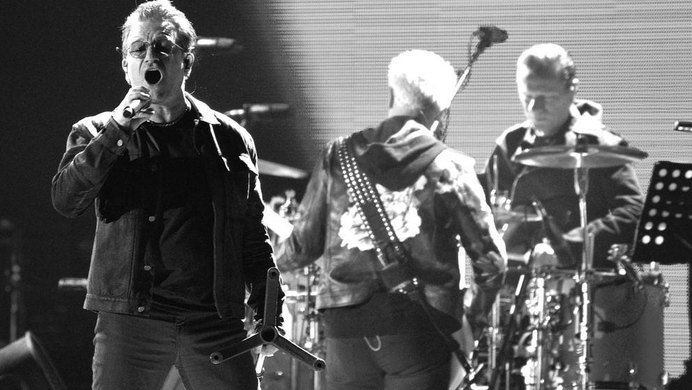 SAN FRANCISCO, CA - OCTOBER 05:  (EDITORS NORE: This image has been converted to Black and White using digital filters) Bono,