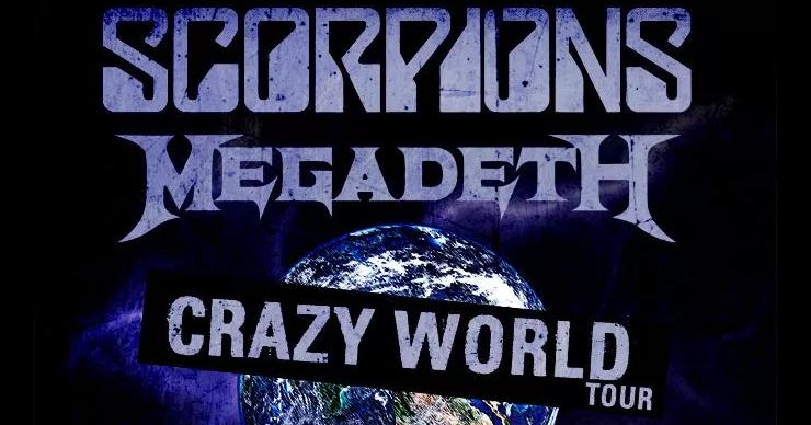 """Tourplakat für die """"Crazy World""""-Tournee der Scorpions und Megadeth"""