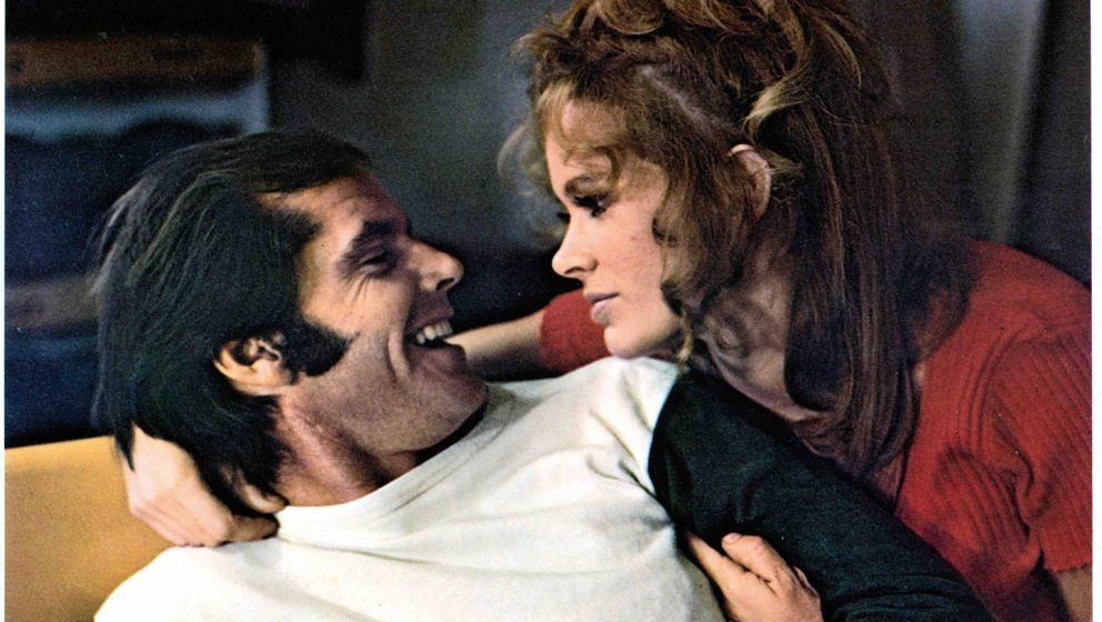 Jack Nicholson lies with Karen Black in a scene from the film 'Five Easy Pieces', 1970. (Photo by Columbia Pictures/Getty Ima