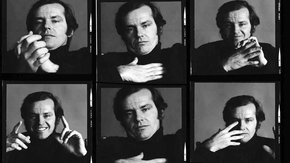 Contact sheet of various portraits of American actor Jack Nicholson, New York, New York, January 1970. (Photo by Jack Robinso