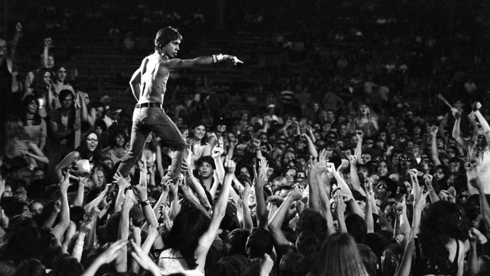 CINCINNATI - JUNE 23: Iggy Pop of the Stooges rides the crowd during a concert at Crosley Field on June 23, 1970 in Cincinnat