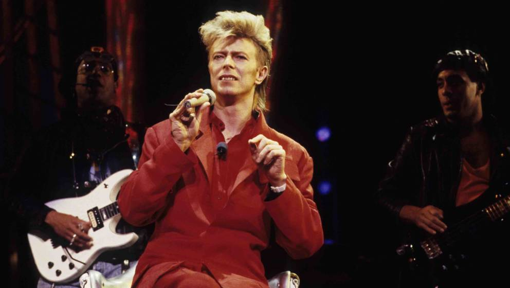 Musician David Bowie performs in concert circa 1987 in New York City. (Photo by L. Busacca/WireImage)