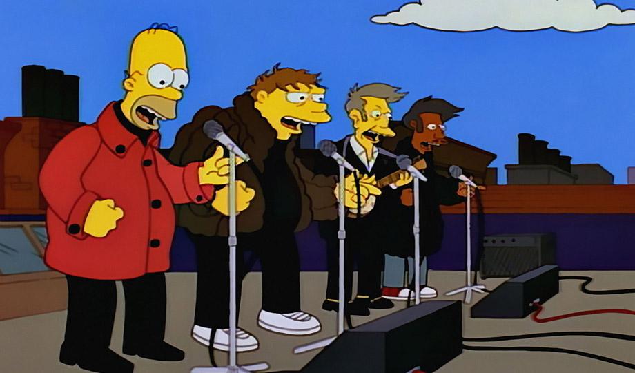Homer, Barney, Direktor Skinner und Apu sind die Be Sharps
