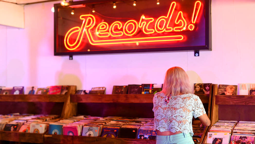 INDIO, CA - APRIL 22:  Festivalgoer in the Record Store during day 2 of the 2017 Coachella Valley Music & Arts Festival (