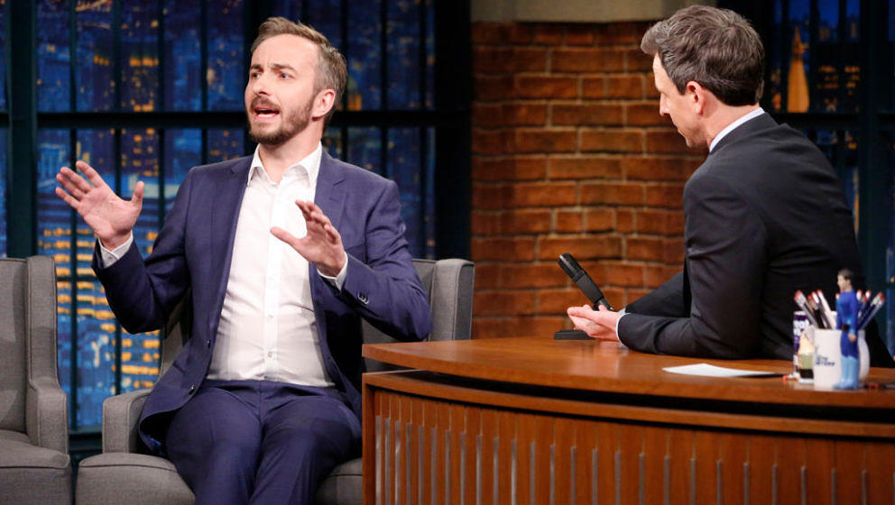 LATE NIGHT WITH SETH MEYERS -- Episode 516 -- Pictured: (l-r) German talk show host, Jan Böhmermann, during an interview wit