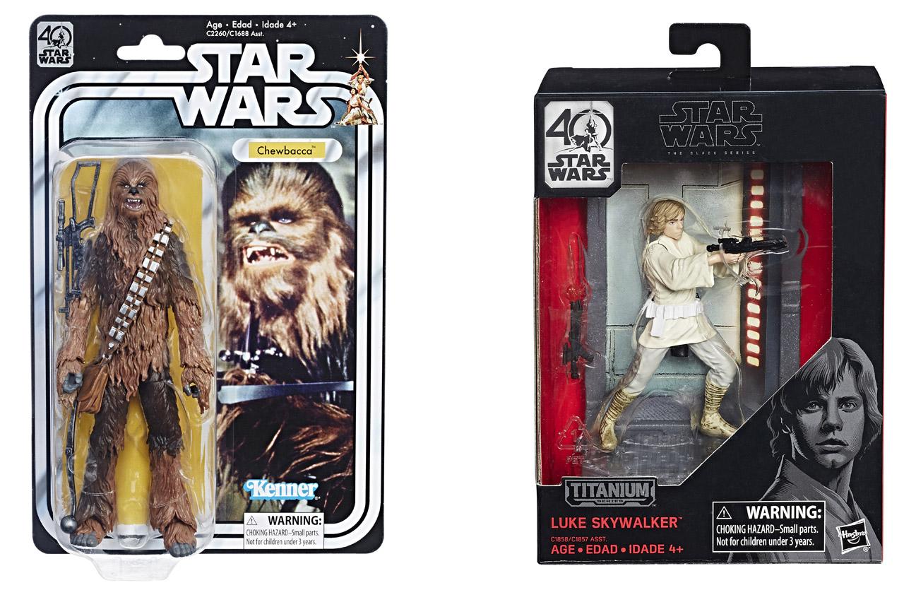 Chewbacca und Luke Skywalker als Spielzeugfiguren