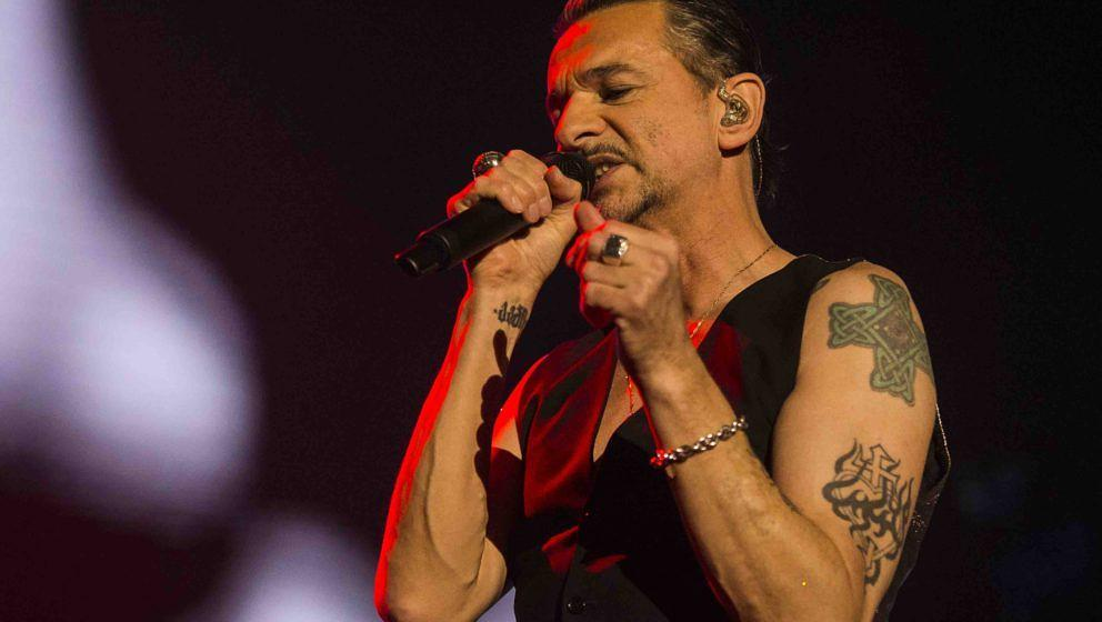 STOCKHOLM, SWEDEN - MAY 05: Dave Gahan of the band Depeche Mode performs in concert at Friends Arena during their Global Spir