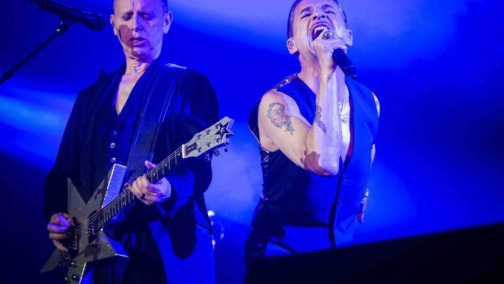 STOCKHOLM, SWEDEN - MAY 05: Martin Gore and Dave Gahan of the band Depeche Mode performs in concert at Friends Arena during t