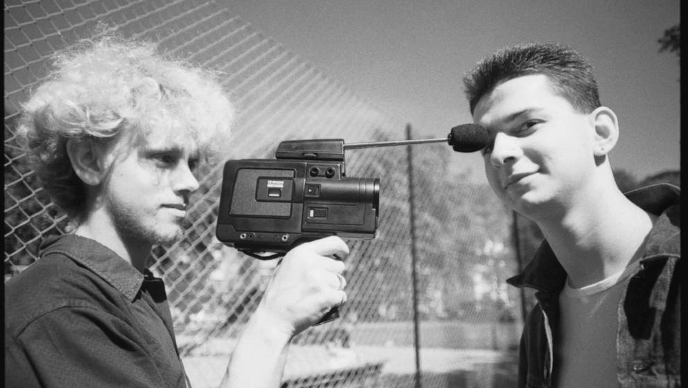 UNITED KINGDOM - SEPTEMBER 02:  Photo of DEPECHE MODE; Martin Gore (l) and David Gahan (r) of Depeche Mode at Shepherd's Bush
