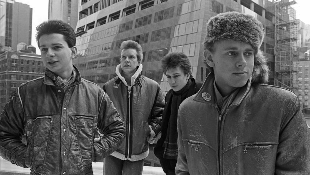 Portrait of British electronic group Depeche Mode at the beginning of their first world tour, New York, New York, January 22,
