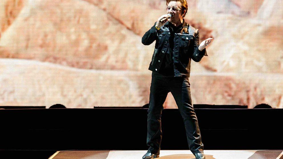 VANCOUVER, BC - MAY 12:  Bono of U2 performs on stage during their 'The Joshua Tree World Tour' opener at BC Place on May 12,