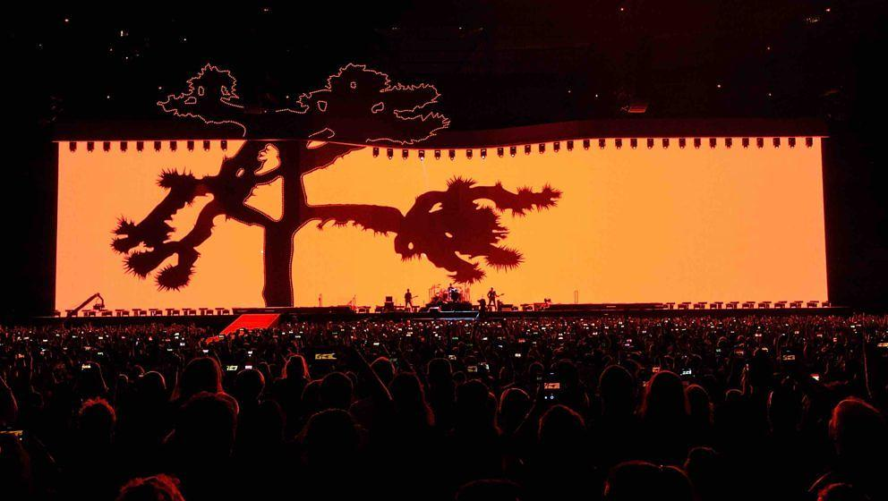 VANCOUVER, BC - MAY 12:  Rock band U2 performs on stage during their 'The Joshua Tree World Tour' opener at BC Place on May 1