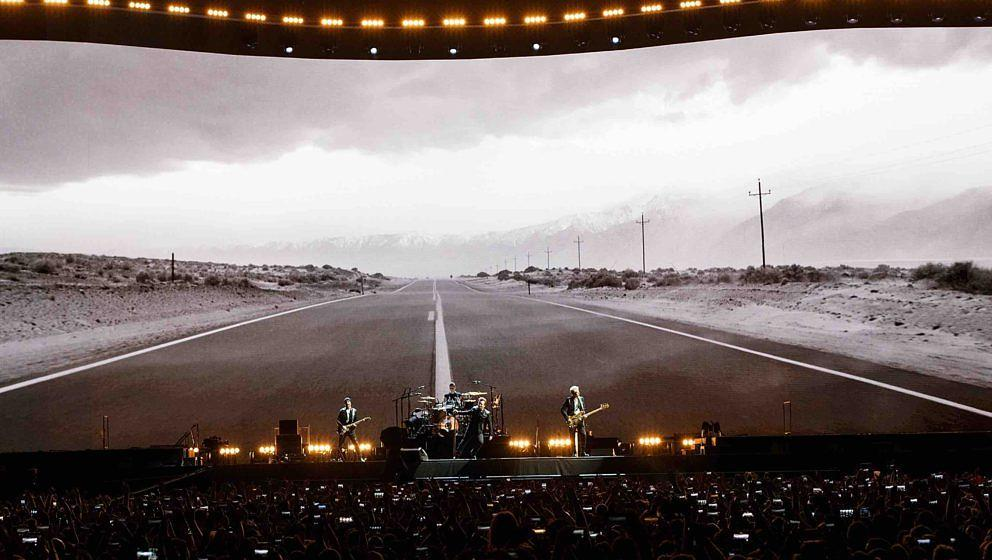VANCOUVER, BC - MAY 12:  Bono, The Edge, Adam Clayton and Larry Mullen Jr. of rock band U2 perform on stage during their 'The