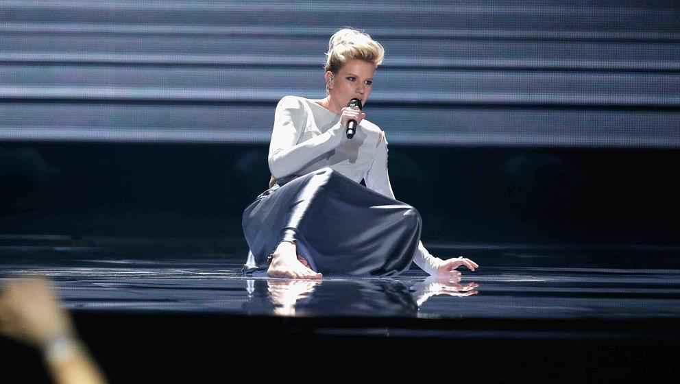 KIEV, UKRAINE - MAY 12:  Singer Levina, representing Germany, performs the song 'Perfect Life' during the rehearsal for ''The