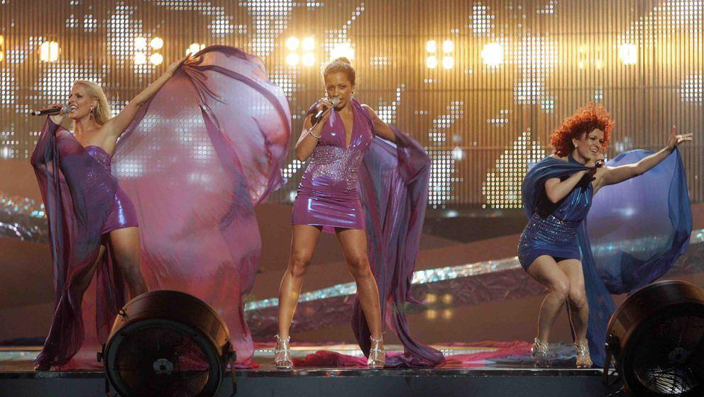German band 'No Angels' rehearses for the Eurovision song contest on May 18, 2008 in Belgrade Arena. Serbia will host for the