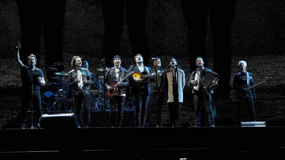 SEATTLE, WA - MAY 14:  (L-R) Bono, Eddie Vedder, Larry Mullen Jr., The Edge, Marcus Mumford, Ted Dwane, Winston Marshall, Ben