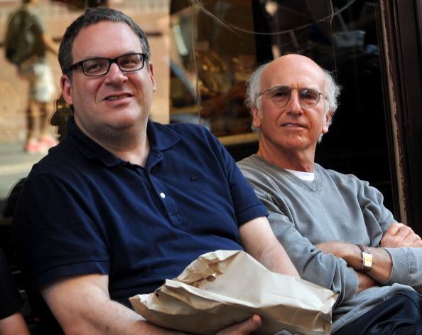 """Am Set von """"Curb Your Enthusiasm"""": Jeff Garlin (l.) und Larry David."""