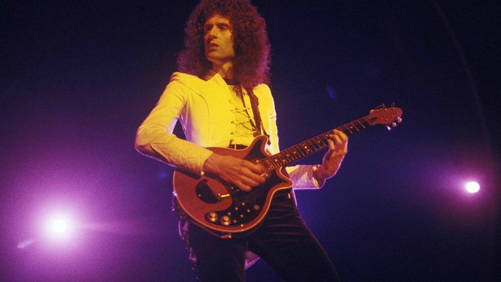 NEW YORK - 1977: Guitarist Brian May of the English rock band Queen performing at Madison Square Garden in New York City in 1