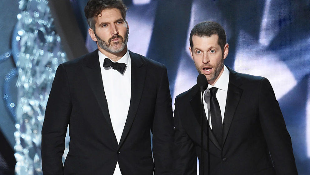 LOS ANGELES, CA - SEPTEMBER 18:  Writer/producers David Benioff (L) and D.B. Weiss accept Outstanding Writing for a Drama Ser