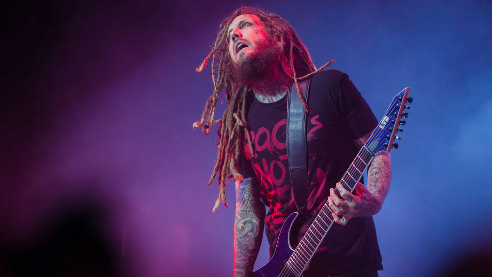 SAO PAULO, BRAZIL - APRIL 19: Brian Welch of Korn performs live on stage at Espaco das Americas on April 19, 2017 in Sao Paul