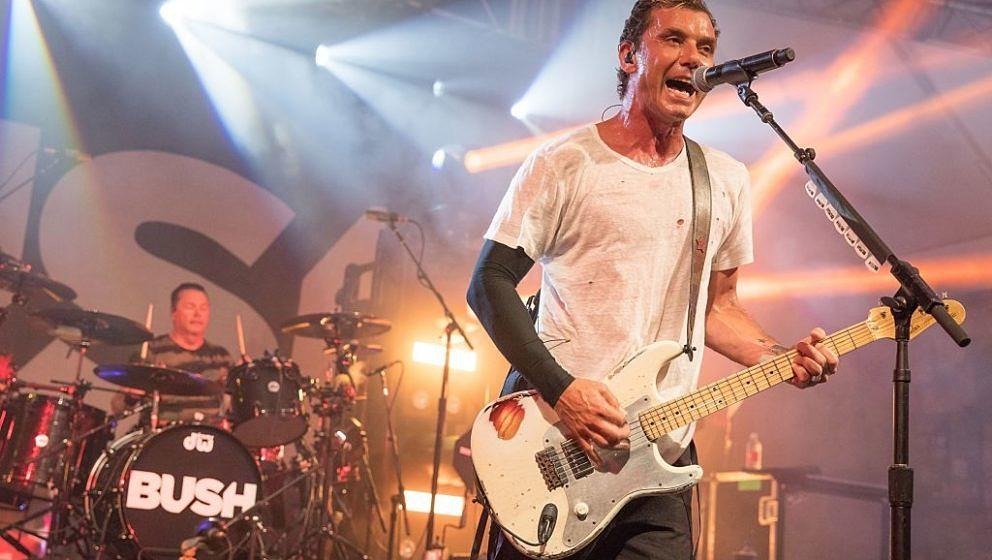 AUSTIN, TX - JULY 02:  Musicians Gavin Rossdale (R) and Robin Goodridge of Bush perform in concert at Stubb's Bar-B-Q on July
