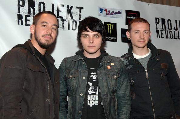 Mike Shinoda, Gerard Way und Chester Bennington im Jahr 2007.