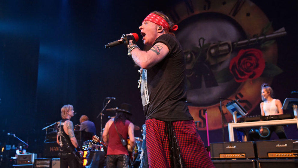 NEW YORK, NY - JULY 20:  Duff McKagan, Slash, Axl Rose, and Melissa Reese of Guns N' Roses perform onstage during SiriusXM's
