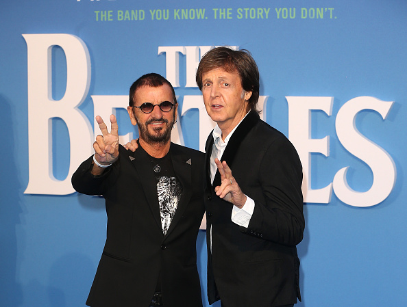 LONDON, ENGLAND - SEPTEMBER 15:  Ringo Starr and Sir Paul McCartney arrive for the World premiere of 'The Beatles: Eight Days