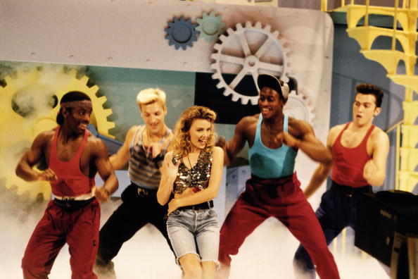 Australian pop star Kylie Minogue appears on TV's 'Going Live!', 1989. (Photo by Tim Roney/Getty Images)