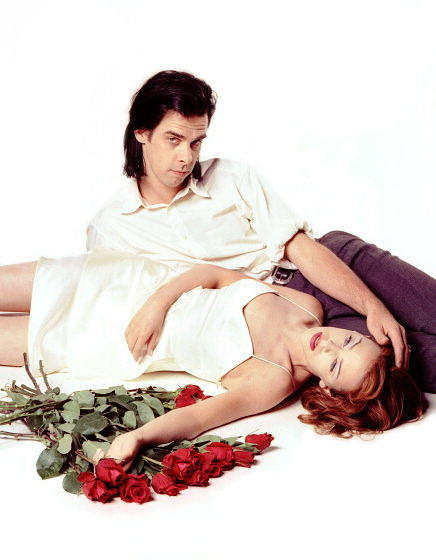 Australian singers Nick Cave And Kylie Minogue, at the time of their single 'Where the Wild Roses Grow', Surrey, United Kingd