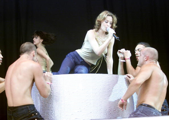 LONDON - JULY 9: Australian pop star Kylie Minogue performs on stage at 'Party In The Park' held at Hyde Park on July 9, 2000