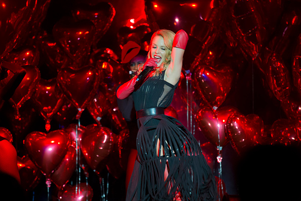 SAO PAULO, BRAZIL - APRIL 10:  Kylie Minogue performs during the 5th Annual amfAR Inspiration Gala at the home of Dinho Diniz